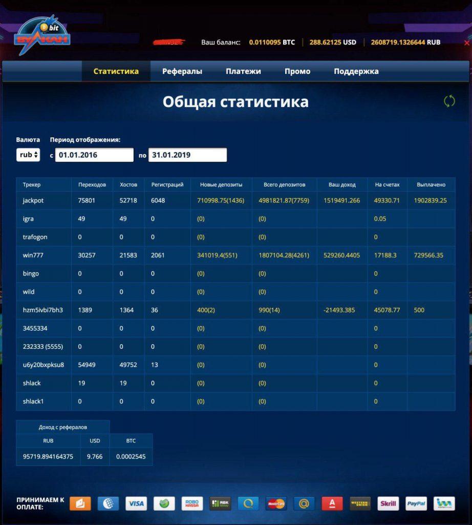 скриншот статистики партнерки